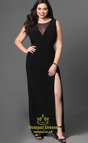 A Line Black Jewel Neck Sleeveless Plus Size Prom Dress With Split