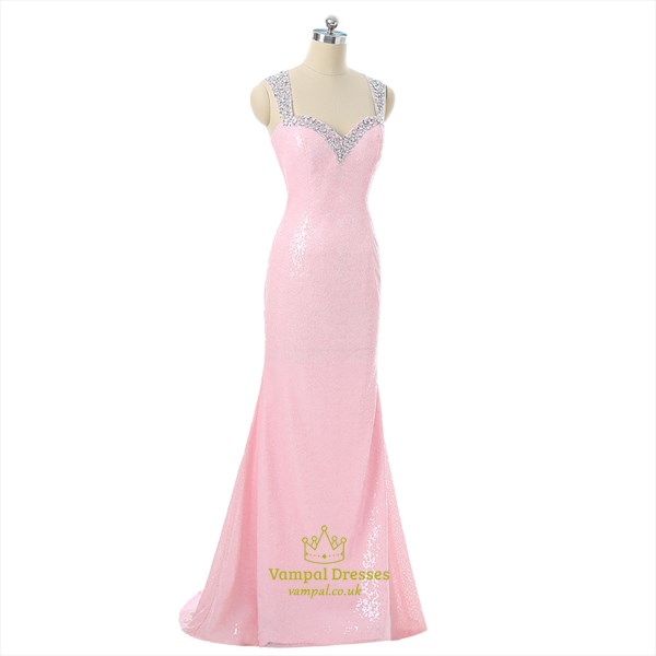 Pink Square Neckline Sheath Sequin Long Prom Dress With Illusion Back
