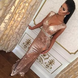 Pink Deep V Neck Sleeveless Beaded Sheath Sequin Long Prom Dress