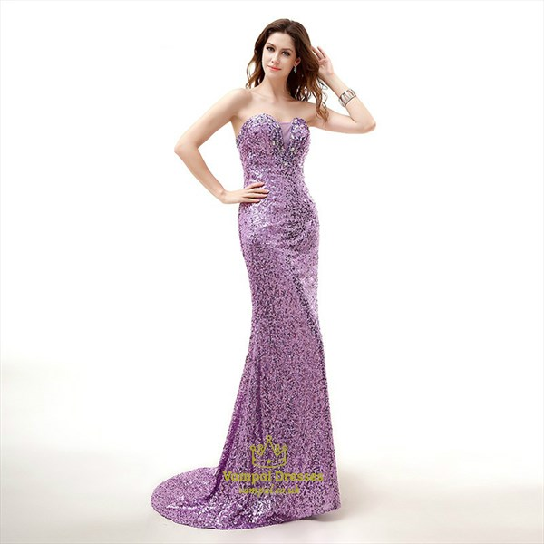 Lavender Beaded Sweetheart Sleeveless Sequin Prom Dress With Train