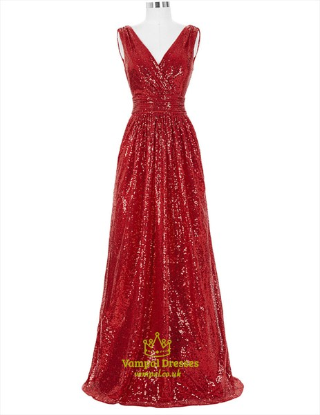 Red A Line V Neck Sleeveless Ruched Waist Long Sequin Prom Dress