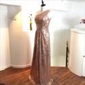 Elegant Pink One Shoulder Ruched Bodice Sleeveless Sequin Prom Dress