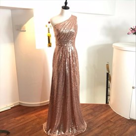 Elegant Pink One Shoulder Ruched Bodice Sleeveless Sequin Prom Dress
