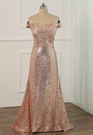 Blush Pink Off The Shoulder Cap Sleeve Applique Prom Dress With Train