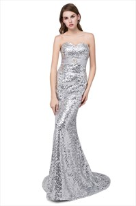 Silver Strapless Sleeveless Long Mermaid Sequin Prom Dress With Train