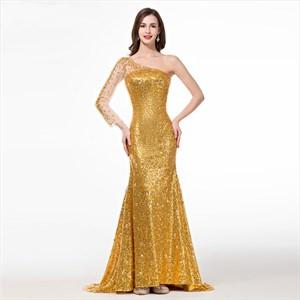 One Shoulder One Sleeve Illusion Back Rhinestone Beaded Prom Dress
