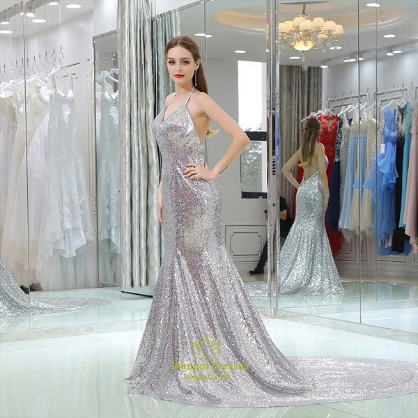 Halter Neck Sleeveless Backless Sequin Prom Dress With Long Train