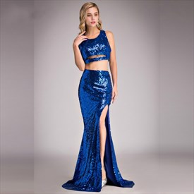 Royal Blue Jewel Sleeveless Sheath Mermaid Prom Dress With Split