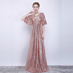 A Line Blush Pink V Neck Flutter Sleeve Ruched Sequin Prom Dress