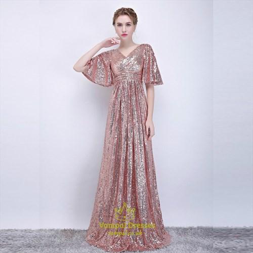 A Line Blush Pink V Neck Flutter Sleeve Ruched Sequin Prom Dress