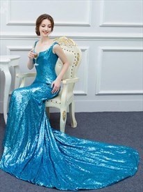 Turquoise Scoop Neck Sleeveless Sequin Mermaid Prom Dress With Train