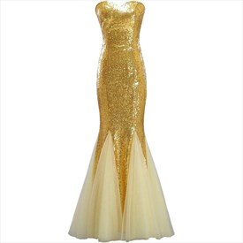 Gold Sweetheart Neckline Sleeveless Long Sequin Tulle Prom Dress