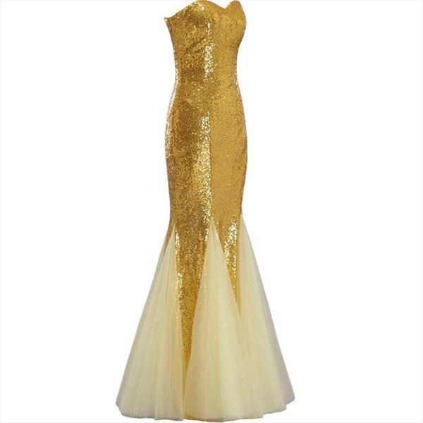 Gold Sweetheart Neckline Sleeveless Long Sequin Tulle Prom Dress