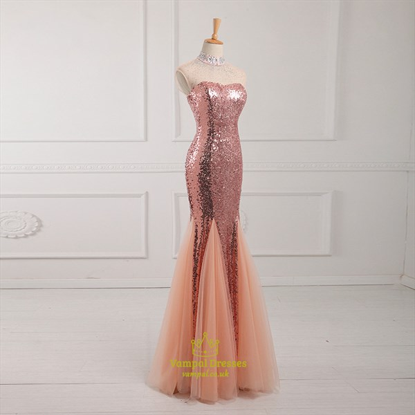 Peach High Neck Crystal Beaded Long Prom Dress With Lace Up Back