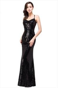 Black Spaghetti Strap Square Neck Sleeveless Open Back Prom Dress