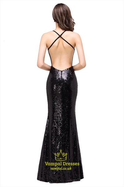 Black Spaghetti Strap Square Neck Sleeveless Open Back Prom Dress
