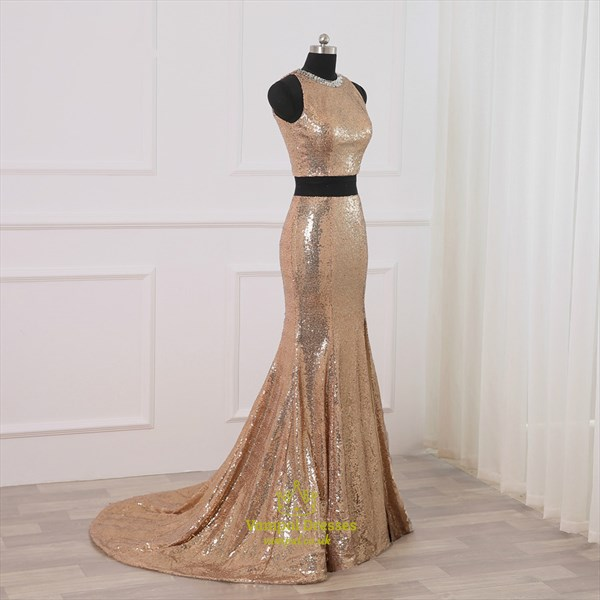High Neck Keyhole Mermaid Sequin Two Piece Prom Dress With Train