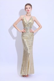 V Neck Sleeveless Beaded Ruched Floor Length Sequin Prom Dress