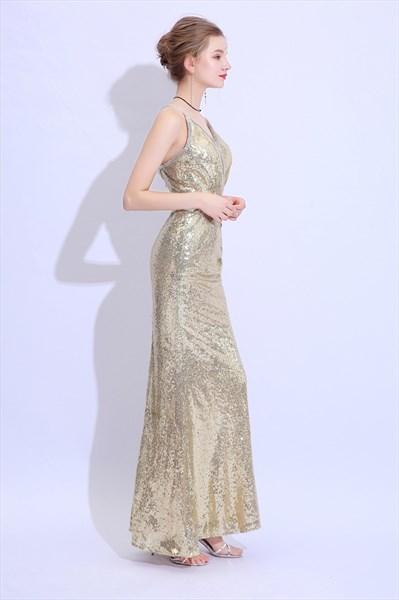 V Neck Sleeveless Beaded Ruched Floor Length Sequin Prom Dress