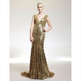 Gold V Neck Sleeveless Sheath Sequin Long Prom Dress With Train