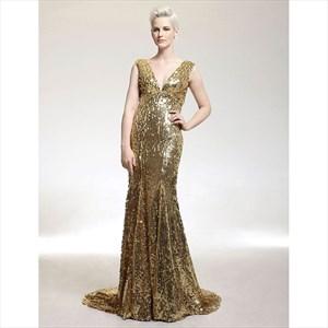 Gold V Neck Sleeveless Sheath Sequin Long Prom Dress With Train