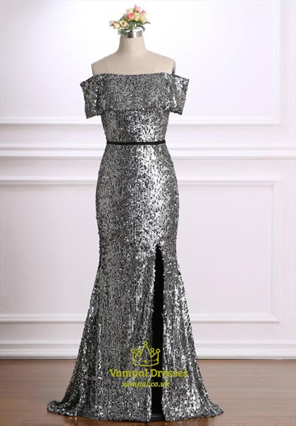 Grey Off The Shoulder Short Sleeve Sheath Long Prom Dress With Split
