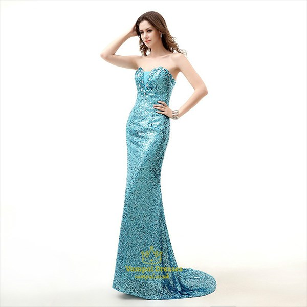 Turquoise Sweetheart Sleeveless Crystal Sequin Prom Dress With Train