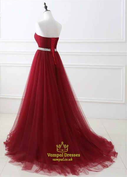 A Line Sweetheart Sleeveless Beaded Tulle Prom Dress With Train