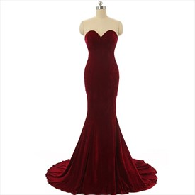 Sweetheart Sleeveless Mermaid Velvet Prom Dress With Lace Up Back