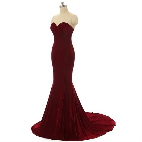 Sweetheart Sleeveless Mermaid Velvet Prom Dress With Lace Up Back