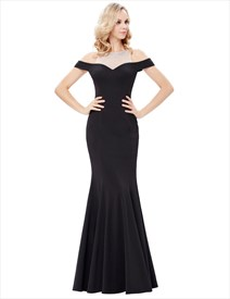Black High Neck Cap Sleeve Keyhole Beading Sheath Satin Prom Dress