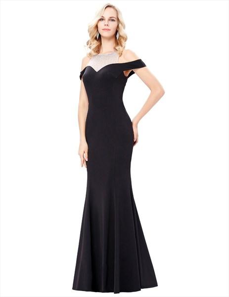 Black High Neck Cap Sleeve Keyhole Beading Sheath Satin Prom Dress