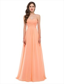 A Line Orange Sweetheart Sleeveless Ruched Bodice Chiffon Prom Dress