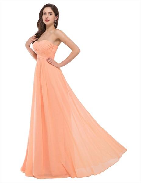 A Line Orange Sweetheart Sleeveless Ruched Bodice Chiffon Prom Dress