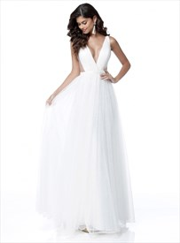Simple A Line White Deep V Neck Sleeveless Tulle Prom Dress