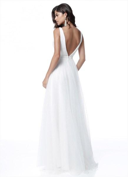 Simple A Line White Deep V Neck Sleeveless Tulle Prom Dress