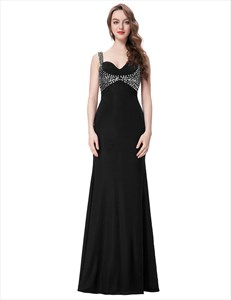 Black Square Neckline Keyhole Beaded Floor Length Chiffon Prom Dress