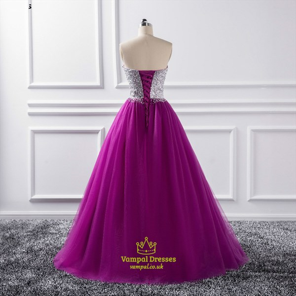 Purple Sweetheart Sleeveless Beaded Tulle Ball Gown Prom Dresses