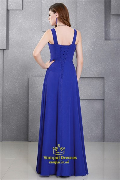 Royal Blue A Line V Neck Crystal Beaded Ruched Chiffon Prom Dress