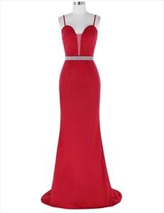 Red Spaghetti Strap Sleeveless Beaded Sheath Prom Dress With Train