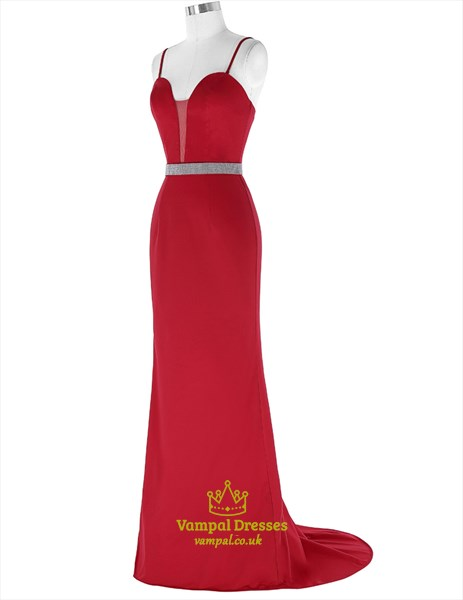 Red Spaghetti Strap Sleeveless Beaded Sheath Prom Dress With Train