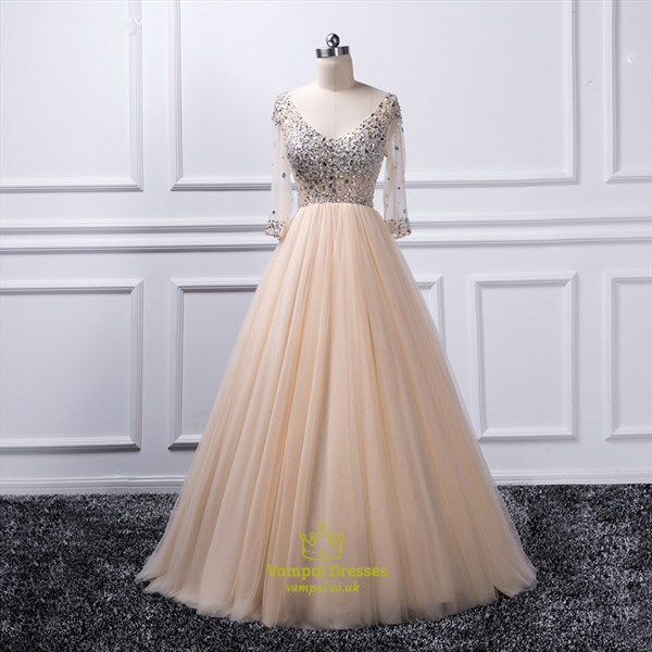 A Line Champagne V Neck Crystal Tulle Prom Dress With 3/4 Sleeves