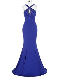 Royal Blue Halter Keyhole Beading Ruched Long Mermaid Prom Dress
