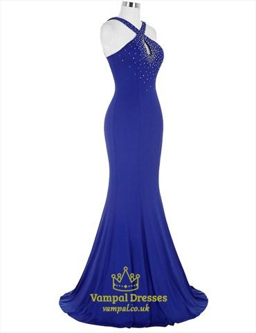 Royal Blue Halter Keyhole Beading Ruched Long Mermaid Prom Dress