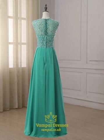 Turquoise Sleeveless Crystal Beaded Floor Length Chiffon Prom Dress
