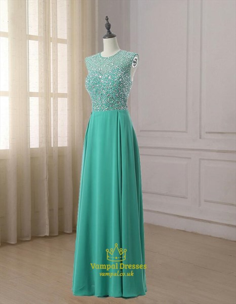 Turquoise Sleeveless Crystal Beaded Floor Length Chiffon Prom Dress