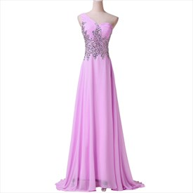 Lilac One Shoulder Sleeveless Crystal Ruched Chiffon Prom Dress