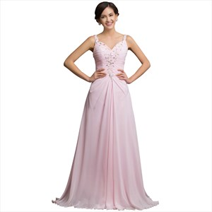 A Line Pink V Neck Ruched Crystal Floor Length Chiffon Prom Dress