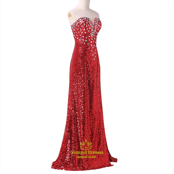 Sweetheart Sleeveless Crystals Sequin Long Prom Dress With Split