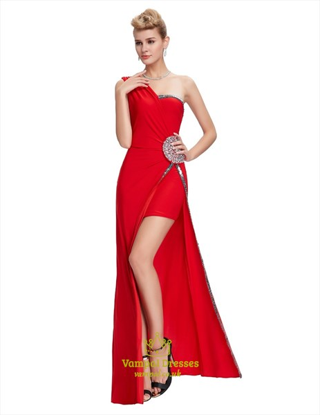 Red One Shoulder Beaded Ruched Chiffon Long Prom Dress With Split